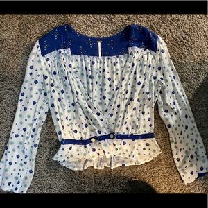 Free people  blue and white wrap blouse